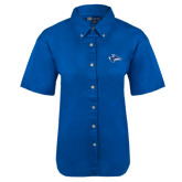 Ladies Royal Twill Button Up Short Sleeve-Loper Head