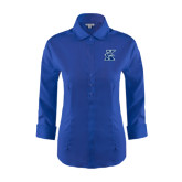 Ladies Red House French Blue 3/4 Sleeve Shirt-K Logo