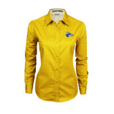 Ladies Gold Twill Button Down Long Sleeve-Loper Head
