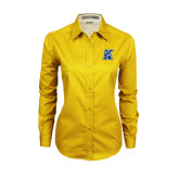 Ladies Gold Twill Button Down Long Sleeve-K Logo