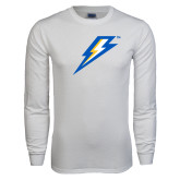 White Long Sleeve T Shirt-Lightning Bolt