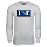 White Long Sleeve T Shirt-University Mark UNE