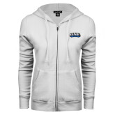 ENZA Ladies White Fleece Full Zip Hoodie-UNE Nor Easters
