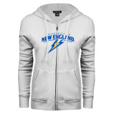 ENZA Ladies White Fleece Full Zip Hoodie-University of New England