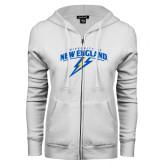 ENZA Ladies White Fleece Full Zip Hoodie-University of New England