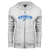 ENZA Ladies White Fleece Full Zip Hoodie-University of New England Nor Easters