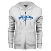 ENZA Ladies White Fleece Full Zip Hoodie-University of New England Nor Easters
