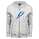 ENZA Ladies White Fleece Full Zip Hoodie-Lightning Bolt