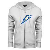 ENZA Ladies White Fleece Full Zip Hoodie-Lightning Bolt