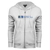 ENZA Ladies White Fleece Full Zip Hoodie-University Mark Flat