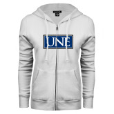 ENZA Ladies White Fleece Full Zip Hoodie-University Mark UNE