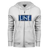 ENZA Ladies White Fleece Full Zip Hoodie-University Mark UNE