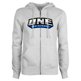 ENZA Ladies White Fleece Full Zip Hoodie-Hockey