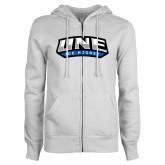 ENZA Ladies White Fleece Full Zip Hoodie-Hockey