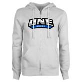 ENZA Ladies White Fleece Full Zip Hoodie-Rugby