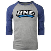Grey/Royal Heather Tri Blend Baseball Raglan-UNE Nor Easters