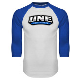 White/Royal Raglan Baseball T Shirt-UNE Nor Easters