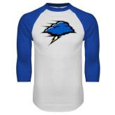 White/Royal Raglan Baseball T Shirt-Cloud
