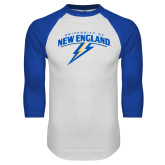 White/Royal Raglan Baseball T Shirt-University of New England