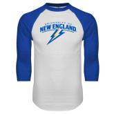 White/Royal Raglan Baseball T Shirt-University of New England
