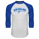 White/Royal Raglan Baseball T Shirt-University of New England Nor Easters