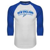 White/Royal Raglan Baseball T Shirt-University of New England Nor Easters