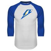 White/Royal Raglan Baseball T Shirt-Lightning Bolt