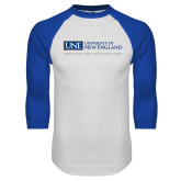 White/Royal Raglan Baseball T Shirt-University Mark Flat