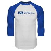 White/Royal Raglan Baseball T Shirt-University Mark Flat