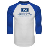 White/Royal Raglan Baseball T Shirt-University Mark Stacked
