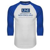 White/Royal Raglan Baseball T Shirt-University Mark Stacked