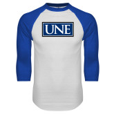 White/Royal Raglan Baseball T Shirt-University Mark UNE