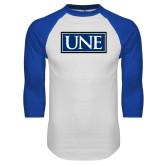 White/Royal Raglan Baseball T Shirt-University Mark UNE