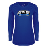 Ladies Syntrel Performance Royal Longsleeve Shirt-UNE Nor Easters