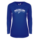 Ladies Syntrel Performance Royal Longsleeve Shirt-University of New England Nor Easters