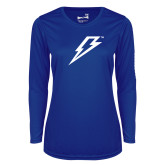 Ladies Syntrel Performance Royal Longsleeve Shirt-Lightning Bolt