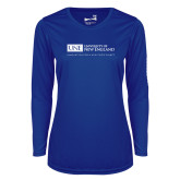 Ladies Syntrel Performance Royal Longsleeve Shirt-University Mark Flat