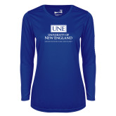 Ladies Syntrel Performance Royal Longsleeve Shirt-University Mark Stacked