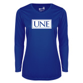 Ladies Syntrel Performance Royal Longsleeve Shirt-University Mark UNE