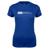 Ladies Syntrel Performance Royal Tee-University Mark Flat