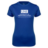 Ladies Syntrel Performance Royal Tee-University Mark Stacked
