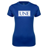 Ladies Syntrel Performance Royal Tee-University Mark UNE