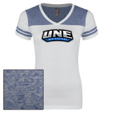 Ladies White/Heathered Deep Royal Juniors Varsity V Neck Tee-UNE Nor Easters