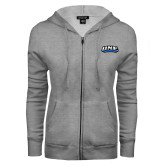 ENZA Ladies Grey Fleece Full Zip Hoodie-UNE Nor Easters