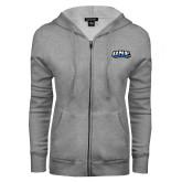 ENZA Ladies Grey Fleece Full Zip Hoodie-UNE Nor Easters
