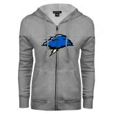ENZA Ladies Grey Fleece Full Zip Hoodie-Cloud