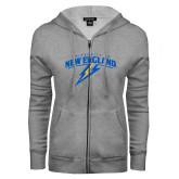 ENZA Ladies Grey Fleece Full Zip Hoodie-University of New England