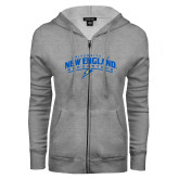 ENZA Ladies Grey Fleece Full Zip Hoodie-University of New England Nor Easters