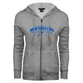 ENZA Ladies Grey Fleece Full Zip Hoodie-University of New England Nor Easters