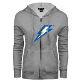 ENZA Ladies Grey Fleece Full Zip Hoodie-Lightning Bolt